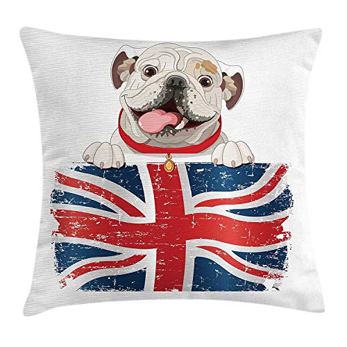 og Throw Pillow Cushion Cover, Happy Pet Bulldog Holding a Union Jack Flag of The Great Britain, Decorative Square Accent Pillow Case, 18 X 18 inches, Cream Navy Blue Red ()