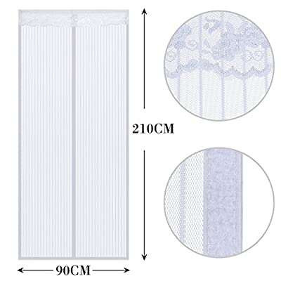 Anpro Magnetic Fly Insect Screen Door Screen Mesh Curtain Fits Door Up To 90 x 210cm (Black)