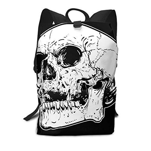 Schädel in der schwarzen Rucksack-Mitte für Kinderjugendlich-Schulreisetasche