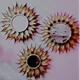 Gold Mirror 3 Pcs Set For Home Decoration In Antique Look Flower Design Wall Mirror