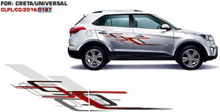 Automaze Sticker Graphics for Hyundai Crea 0187 (Set of 2, Red & Grey)
