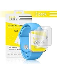 [Pack - 2] Apple Watch 42 mm Protector de Pantalla I TechCool® Cristal Templado para Apple Watch 42 mm [No Cubre el Borde Biselado] I Vidrio Templado, Fijación Perfecta - Sin Burbujas I HD, Dureza 9H - Kit de Instalación Incluido