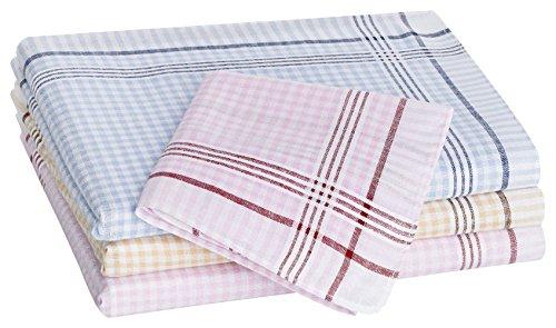 Tobeni 12 Stück Damen Stoff Taschentücher aus 100% Baumwolle 30 cm x 30 cm Grösse 30 cm x 30 cm Farbe Design 11