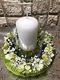 Tidschdeko Tischdekoration Nr.40 Tischgesteck elegant, Gesteck mit Kerze und Kranz apfelgrün Sommer moderne Tischdeko Sommerdeko - 3