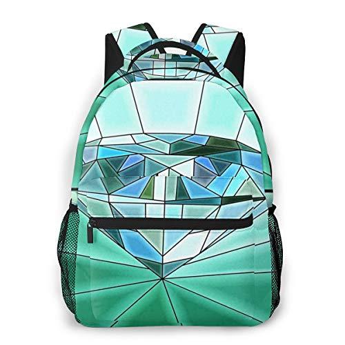 Zaino Uomo Donna Mosaico Diamante Vetrata, Camping Outdoor Casual Zaino Scuola Zaino Università Zaini Viaggio Adatto per Laptop 14 Pollici