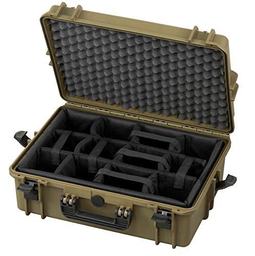 TAF Case 500 CAM - Outdoor Kamerakoffer Staub- und wasserdicht mit Schaumstoffeinlage, stapelbares Hardcase für Equipment, Olive - Cami Olive