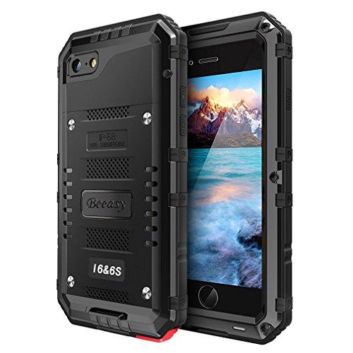 iPhone 6& iPhone 6S Wasserdicht Hülle, Robust Militärstandard Handyhülle mit Eingebautem Displayschutz Haltbarkeit Stoßfest Metall Schutzhülle für iPhone 6,Schwarz (Heavy-duty-batterie-kabel)