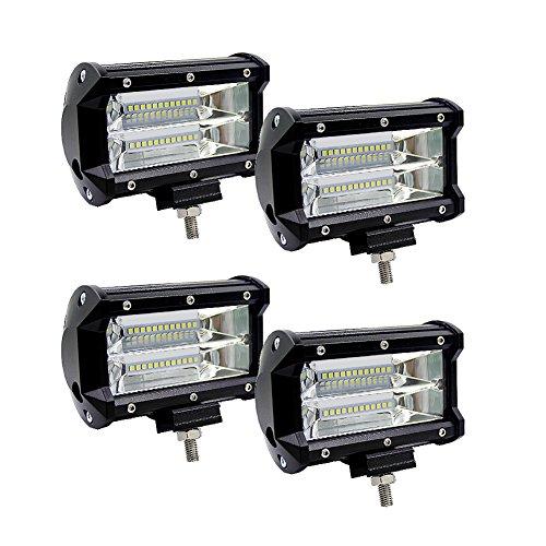 Qiyun Lichter Auto, Lampen Auto, Gegenstände für Auto, 5Zoll 72W 2Streifen LED Long Stripe Car Light Top für die Landhaus Licht ändern 4PCS white light
