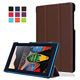 Lenovo Tab3 710F Hülle Etui Case - ultradünn Schutzhülle Tasche für Lenovo Tab3 7 Essential / Lenovo Tab3-710F (7 Zoll) Tablet Tablet SmartShell Cover mit Ständer (Braun)