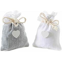 Bolsas de algodón con borde de encaje, Corazón y tira (24unidades)
