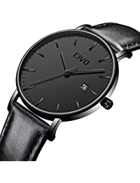 CIVO Mens Ultra Thin Watches Minimalist Wrist Watch Luxury Elegant Business Fashion Gents Watch Waterproof Date Calendar Casual Analogue Quartz Watches for Men Black (Model 2)