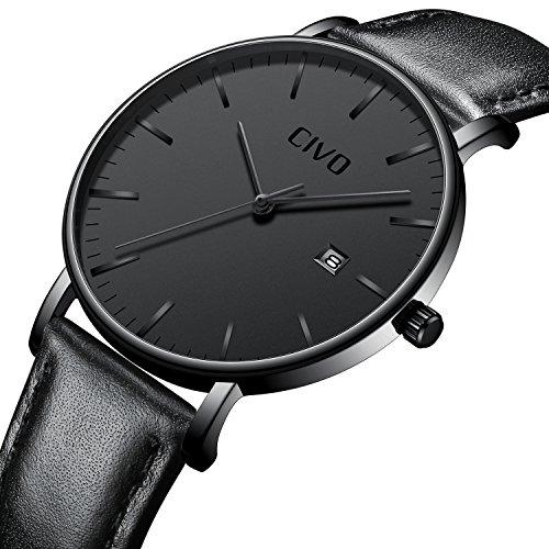 CIVO Herren Schwarz Uhren Ultra Dünn Minimalistisch Mode Armbanduhr Luxus Elegant Geschäft Herren Uhr Wasserdicht Datum Kalender Beiläufig Analoge Quarzuhren für Männer (Schwarz/Leder)