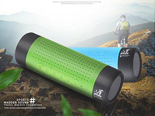 wanghuixin Outdoor-Lautsprecher Wasserdichter Sport, Outdoor-Lautsprecher Taschenlampe Portable Wireless-Lautsprecher, Bluetooth Radsport-Lautsprecher 4.0 NFC, Built-in Mic - grün