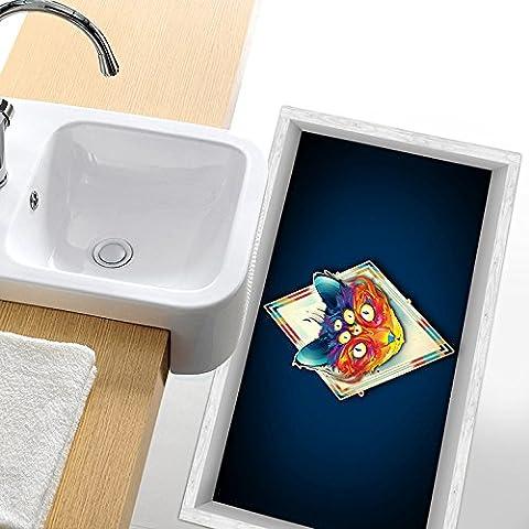 [Livraison Gratuite 7-12 jours] Pag salle de bains 3D multi-yeux motif de chat anti dérapant étage autocollant waterproof lavable décor de cuisine BML®