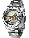 Alienwork IK Reloj Automático esqueleto mecánico Resistente al agua 5ATM Acero inoxidable plata plata 98399G-MS-M