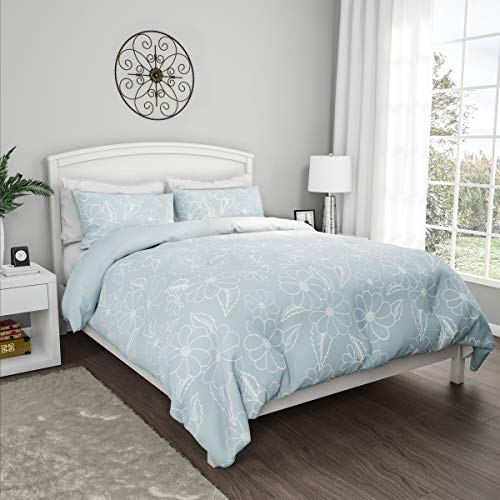 Lavish Home Collection LHC 3-Piece Set - Jardin Hypoallergenic Polyester Microfiber Modern Floral Print Comforter with Pillow Shams (Full/Queen) - Le Jardin Floral