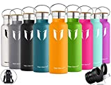 Super Sparrow Botella de agua aislada al vacío de acero inoxidable, diseño de pared doble, boca estándar - 350ml / 500ml / 620ml / 750ml / 1L - sin bpa Botellas - para correr, gimnasio, yoga, ciclismo
