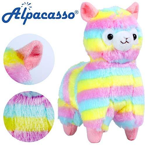 """Alpacasso 6.7"""" Rainbow Plush Alpaca, Lindo Juguete de peluche."""