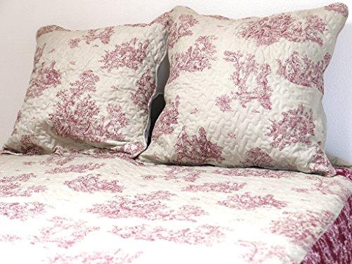 Soleil d'ocre 376091 NOEMIE Couvre-lit boutis matelassé avec 2 Taies d'oreiller Polyester Rouge 260 x 240 cm