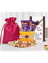 Tied Ribbons Rakhi with Dry Fruit(Designer Rakhi,Almonds,Cashew,Rasins,2 Dairy Milk Chocolates,Rakhi Card and Roli Chawal)