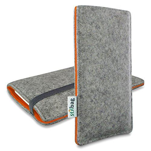 Stilbag Filztasche 'FINN' für Apple iPhone SE - Farbe: hellgrau/orange