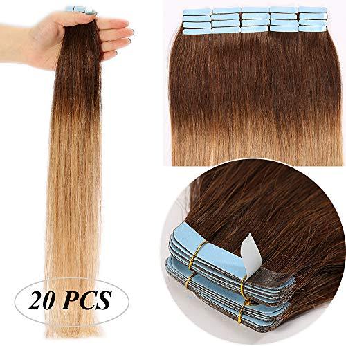 Extension capelli veri biadesivo shatush extensions adesive 20 fasce biadesive tape extension remy human hair naturali 50g (50cm #4t27 castano medio ombre biondo scuro)