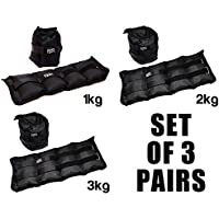 Set Of 3 Pairs Of Ankle Weights by FXR Sports - 1kg 2kg & 3kg - Resistance Straps For Strength Training