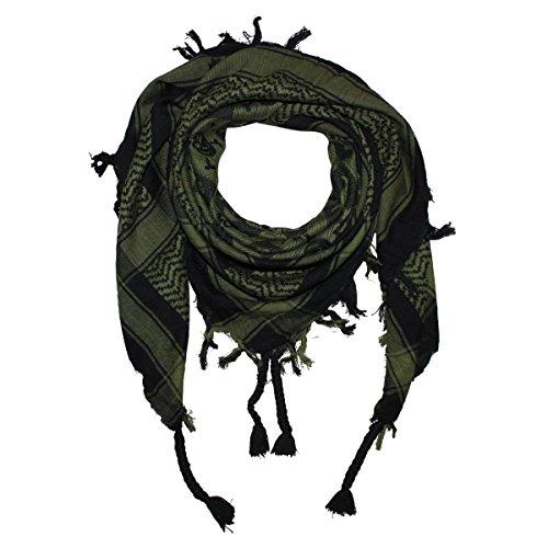 Superfreak® Palituch mit Totenkopf-Muster 1°PLO Schal°100x100 cm°Pali Palästinenser Arafat Tuch°100% Baumwolle, Farbe: schwarz/olivgrün
