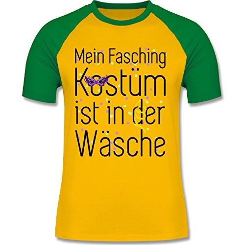 - Mein Fasching Kostüm ist in der Wäsche - XXL - Gelb/Grün - L140 - Herren Baseball Shirt (Baseball Kostüm Männer)