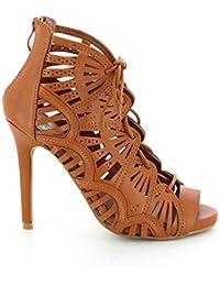 Go Moda - Sandalias de Tacón agujeros de corte con encaje - tacón 11 cm - Mujer