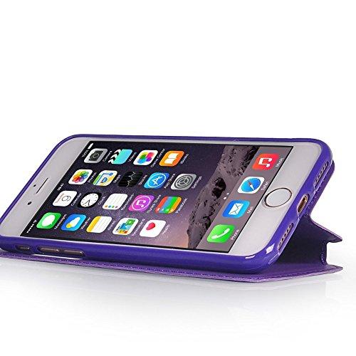 UKDANDANWEI Apple iPhone SE [Rr] Hülle Case - Magnetisch Leder Tasche Flip Case Cover Schutzhülle Etui Hülle Schale mit Fenster Ansicht Für Apple iPhone SE - Schwarz Lila