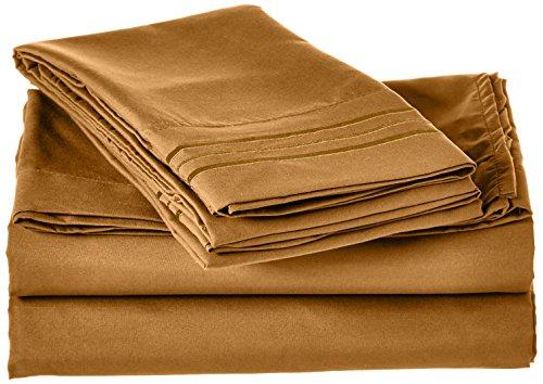 Eleganten Komfort 1500Fadenzahl Luxus ägyptische Qualität Falten und farbbeständig 4er Set Tabelle, Bronze, Volle Größe -