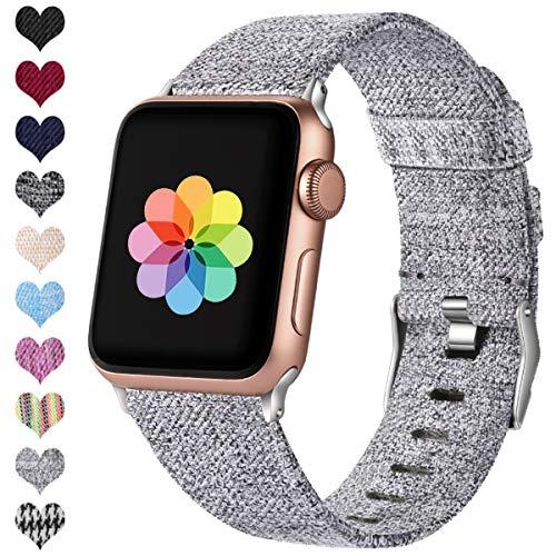 HUMENN Kompatibel mit Apple Watch Armband 38mm 40mm 42mm 44mm, Ersatzgewebe Band Nylon Sport Armband mit Rostfreier Metallschnalle für iWatch Serie 4 3 2 1, Grau 38mm/40mm -