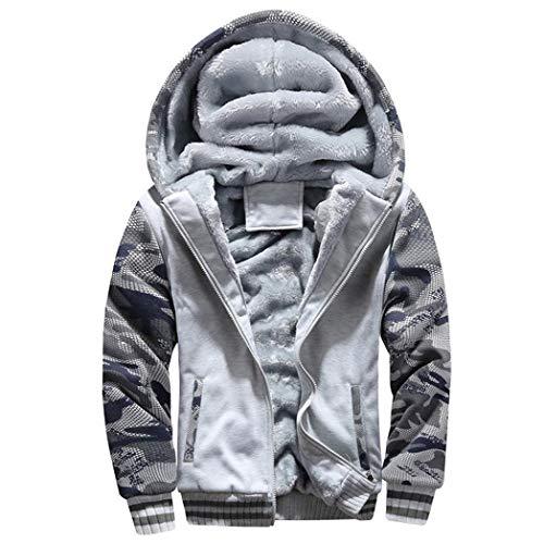 Cebbay Pull Homme M-16XL Chaud Polaire Capuche Zipper Hoodie Pull Mode Chic Veste Confortable personnalité Pull Sweat Hiver Outwear Manteau Nouveau(Gris,XL)