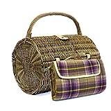 Cestino da picnic a forma di barile per 2 persone con coperta viola. Idea regalo...