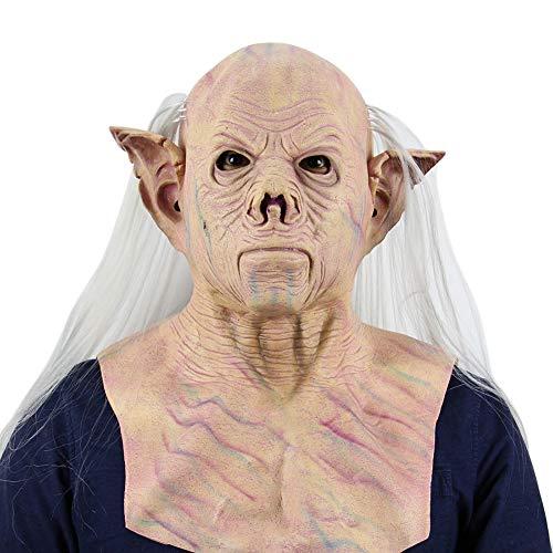 PanDaDa Halloween Maske für Erwachsene, Devil Alien Pharao Maske Gesicht mit weißem Haar Sturmhaube Monströse Pharao Maske Kostüm Party Gruselig Unheimlich Dekoration Requisiten