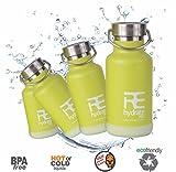 Rehydrate Pro Set di borracce termiche per bambini in acciaio INOX, rispettose dell'ambiente per bevande calde o fredde e viaggi Le borracce includono il tappo sportivo ''Flip N SIP'' da 350ml., Lime