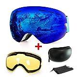 Gafas de esquí antiniebla con protección UV para snowboard, esquí, skating y otros deportes de nieve, con lentes esféricas intercambiables dobles, para hombres, mujeres y jóvenes, azul