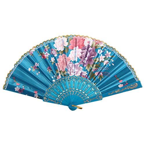 Kviklo Handfächer Faltseide Fächer Kunststoff Blume Geblümt Durchbrochene Kostüm Party Hochzeit Chinesisch/Japanisch - Fähre Kostüm