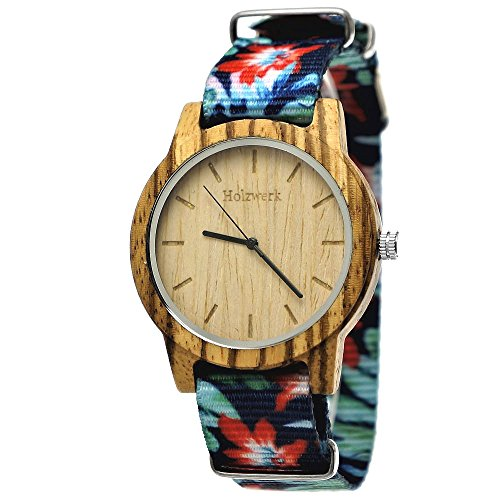 erk Germany® Unisex Damen-Uhr Herren-Uhr Sommer Hawaii Blumen Öko Natur-Holz Holz-Uhr Armband-Uhr Analog Holz-Armbanduhr Bunt Blau Rot Braun Textil-Armband Holz-Ziffernblatt (Japan Herren Tracht)
