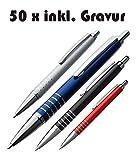50 x Exklusiver Kugelschreiber aus Aluminium inkl. Gravur mit blau schreibender Mine (rot)