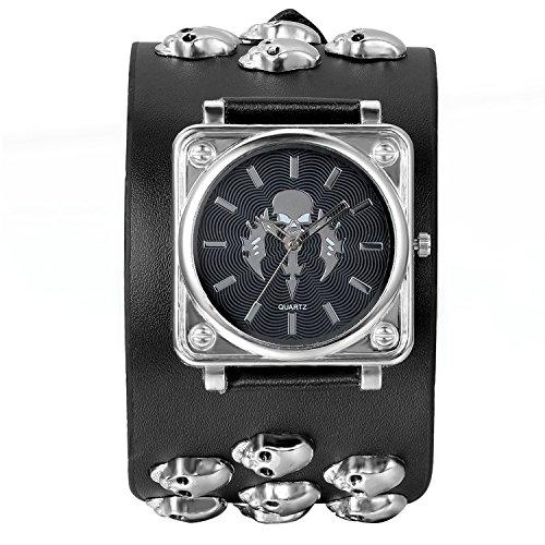 Foto de Avaner Reloj de Pulsera Hombre Cráneos Punk Rock, Reloj Grande de Cuero Para Biker Motorista, Cuarzo Reloj Negro Analogico Buen Regalo