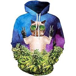 TDOLAH Damen Herbst Winter Kartoon Weihnachten Pärchen Sweatshirts Spaß Textildruck mit Kapuze Pullover Strickjacke (Größe L / XL, Sonnenbrille Katze)