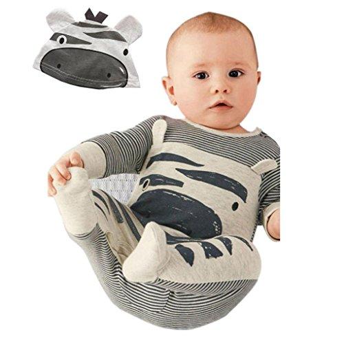 Zolimx 1Stellen Neugeborene Säugling Baby Jungen Mädchen Spielanzug + Hut Overall Bodysuit Kleidung Outfit (70, Grau) (Jeans Armani-gestreifte)