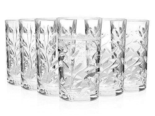 Bluespoon Trinkgläser aus Kristallglas 6er Set   Füllmenge der Gläser 200 ml   ØxH der Universalgläser 6,6x11,9 cm   Zeitlose Longdrinkgläser in höchster Qualität