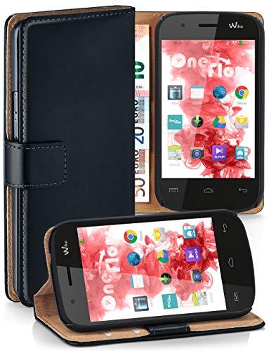 moex® Booklet mit Flip Funktion [360 Grad Voll-Schutz] für Wiko Ozzy | Geldfach & Kartenfach + Stand-Funktion & Magnet-Verschluss, Schwarz
