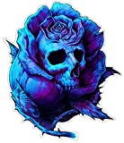 Rose Skull Aufkleber Sticker Schädel Totenkopf Blumen ca. 12x10 cm
