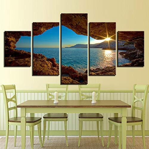 adgkitb canvas Hd Wandkunst Leinwand Malerei Fünf Stücke Tableau Decor Home Tagungsraum Sonnenuntergang Seelandschaft Wandbild Mode KEIN Rahmen -