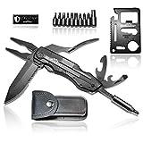 BERGGEIST® Multi Tool Survival Taschenmesser Set aus Edelstahl inclusive schwarzem Edc Outdoor Kreditkartenmesser