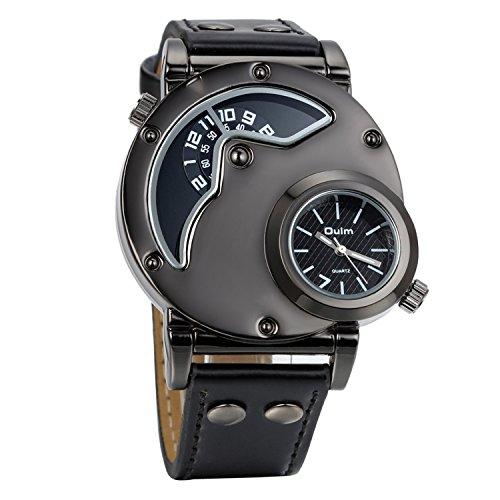 Avaner Grande Reloj de Hombre Militar Deportivo Reloj de Pulsera Negro, Correa de Cuero Reloj de Piloto Navegador 2 Zonas de Horarios, Diseño Original Regalo de Navidad